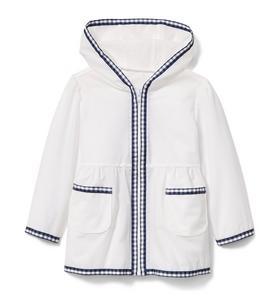 Gingham Trim Raincoat