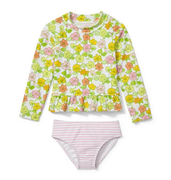 Floral Striped Rash Guard Set