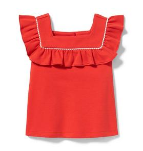 Square Neck Ruffle Top