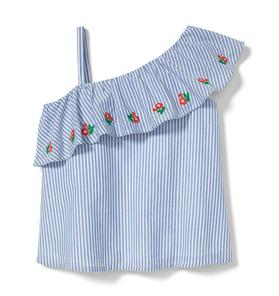 Striped Embroidered Poppy Top