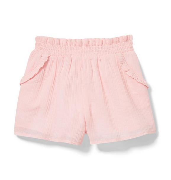Ruffle Trim Gauze Short