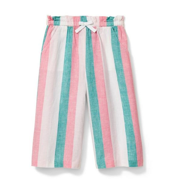 Linen Striped Wide Leg Pant