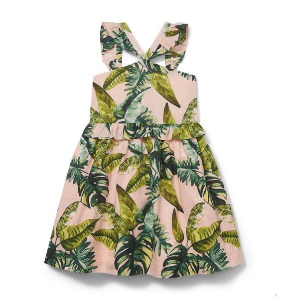 Ruffle Strap Palm Print Dress