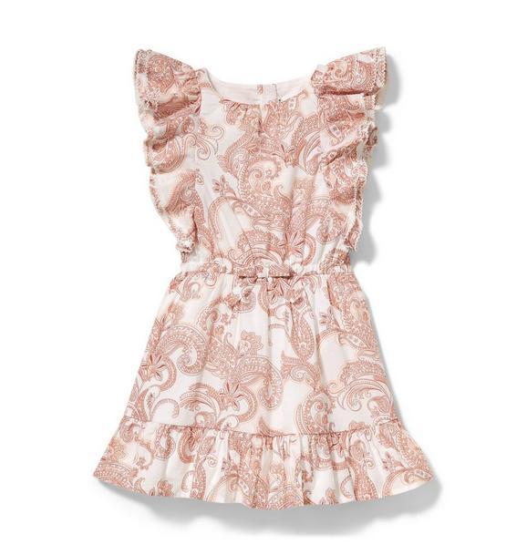 Ruffle Sleeve Paisley Dress