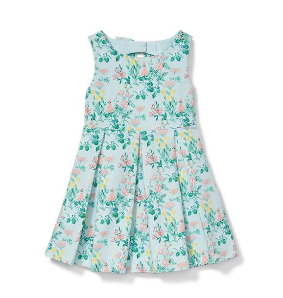 Floral Pique Pleated Dress