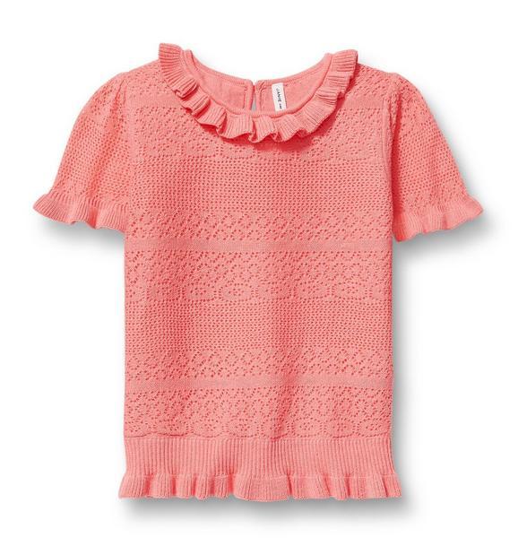 Pointelle Ruffle Neck Sweater