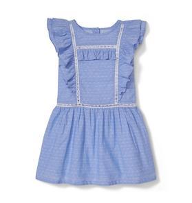 Swiss Dot Ruffle Trim Dress