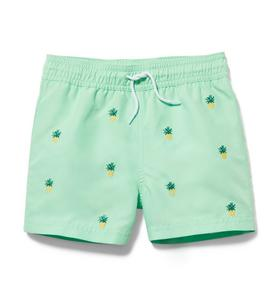 Embroidered Pineapple Swim Trunk