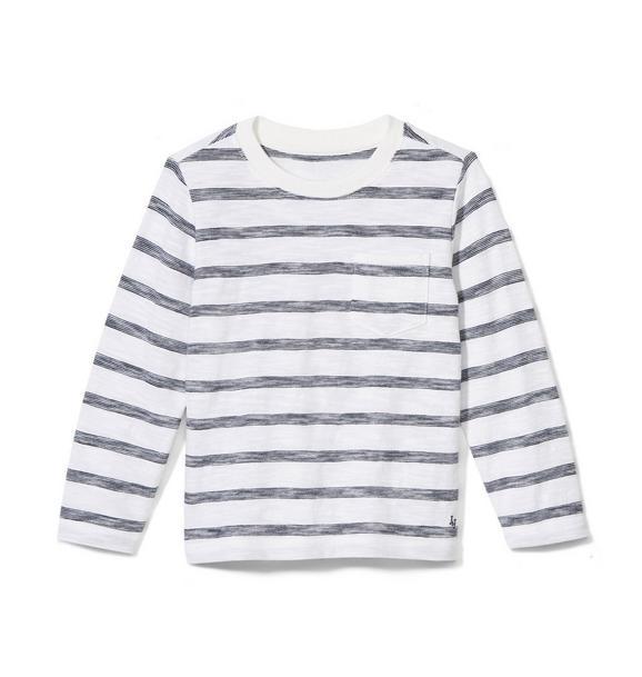 Long Sleeve Striped Slub Pocket Tee