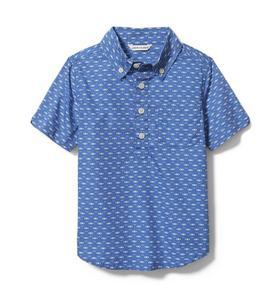 Linen Geo Popover Shirt