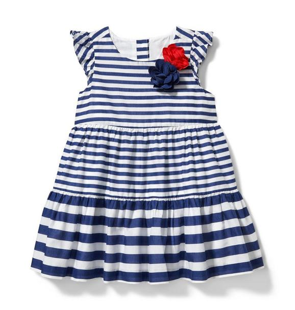 Rosette Striped Dress