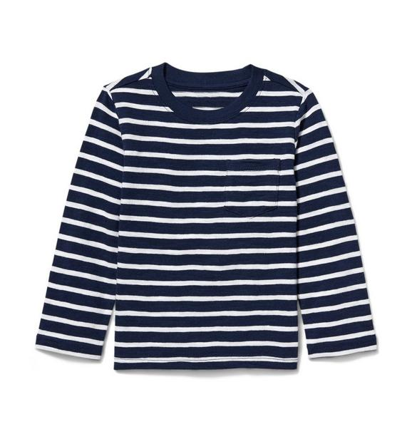Long Sleeve Striped Slub Pocket Tee