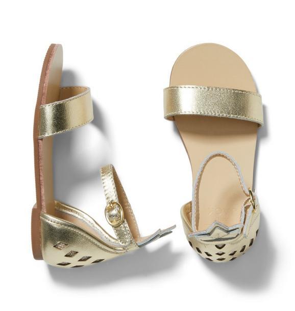 Pineapple Cutwork Metallic Sandal