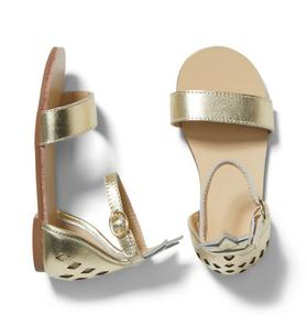 Pineapple Cutwork Metallic Sandal