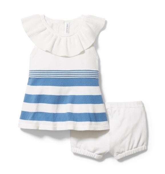 Baby Ruffle Collar Striped Matching Set