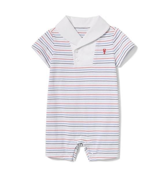 Baby Striped Shawl Collar Romper