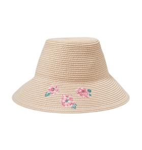 Embroidered Floral Straw Hat