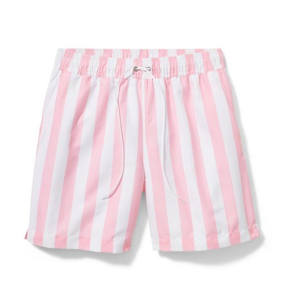 Pink Men's Striped Swim Trunk