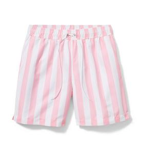 Pink Men's Striped Swim Trunk