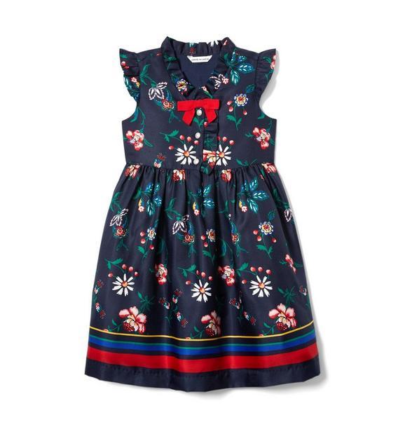 Floral Striped Border Dress