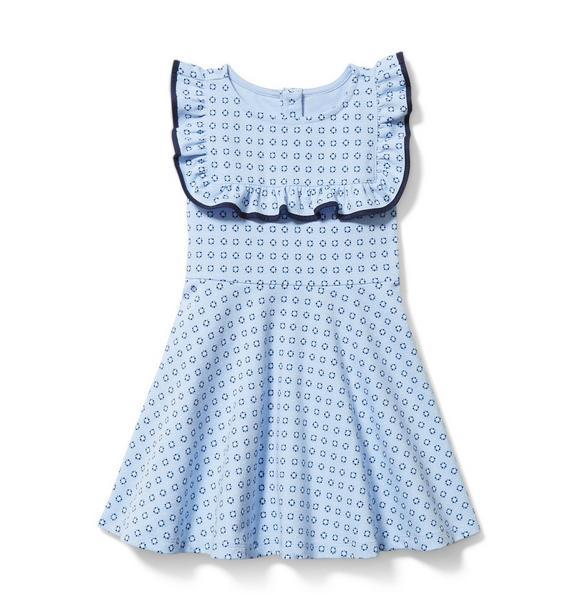 Geo Ruffle Ponte Dress
