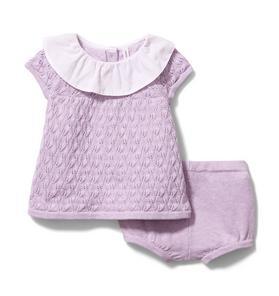 Baby Ruffle Collar Pointelle Matching Set