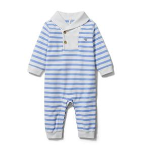 Baby Striped Shawl Collar 1-Piece