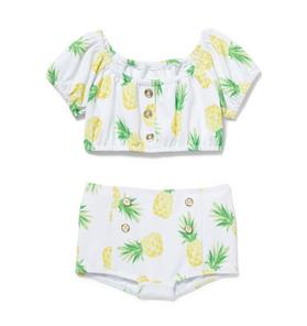 Pineapple Puff Sleeve 2-Piece Swimsuit