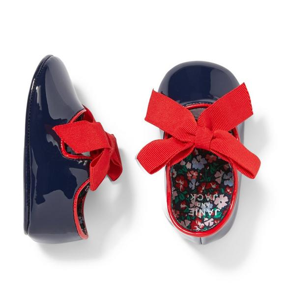 Baby Patent Bow Crib Shoe