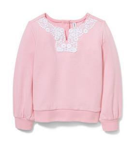 Pink Crochet Sweatshirt