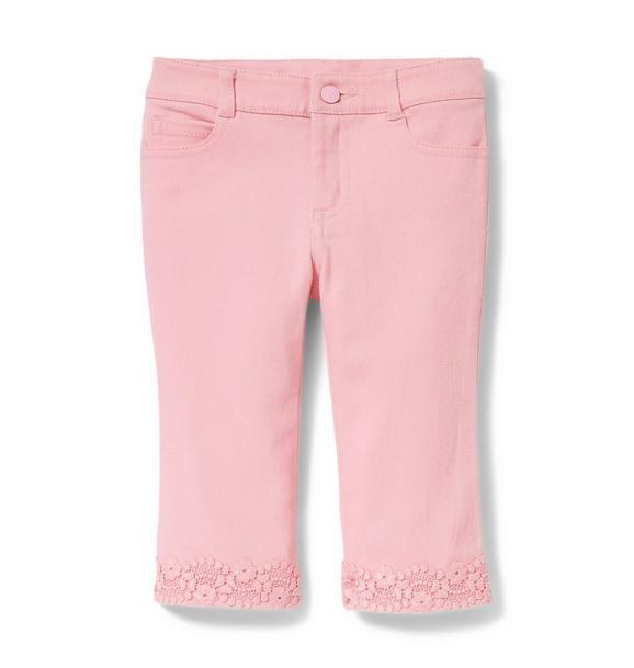 Pink Crochet Trim Jean