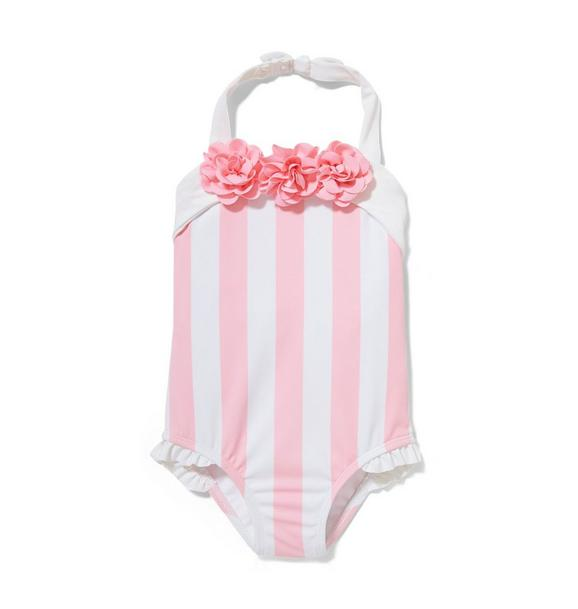 Pink Striped Swimsuit