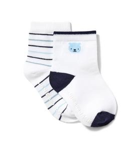 Baby Striped And Polar Bear Sock 2-Pack