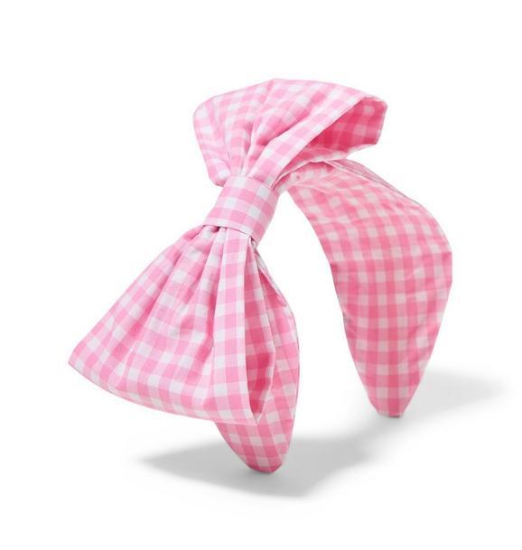 Pink Gingham Bow Headband