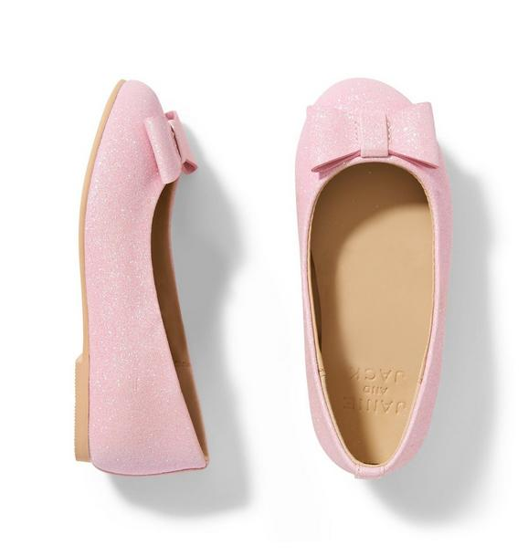 Think Pink Glitter Bow Flat