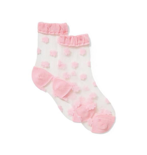 Pink Flower Sheer Sock