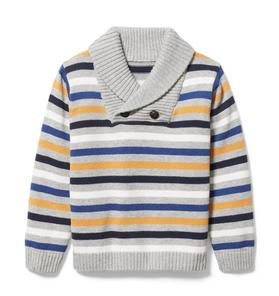 Striped Shawl Collar Pullover