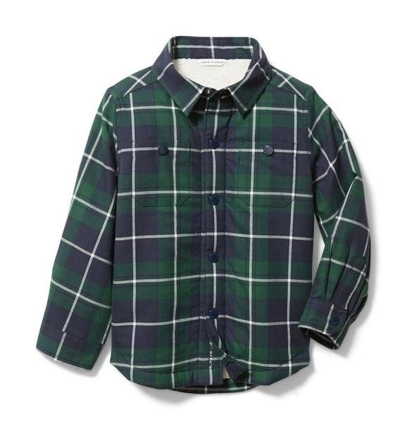 Plaid Sherpa Lined Shirt Jacket