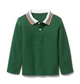 Striped Collar Pique Polo