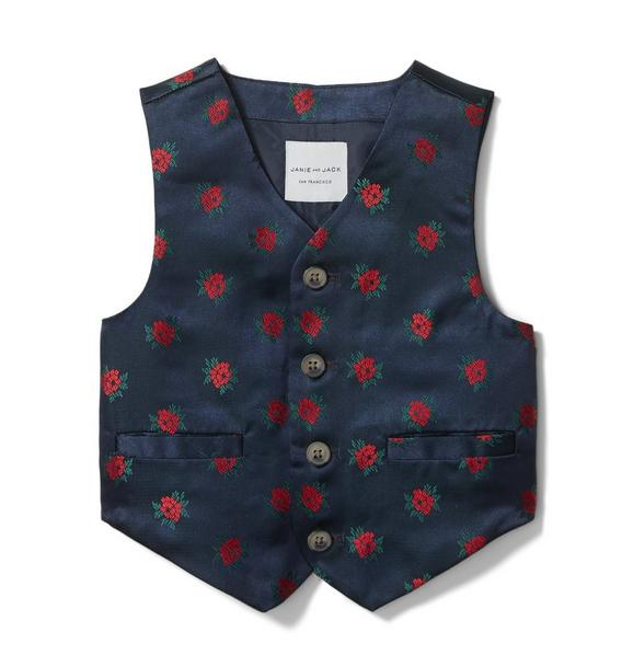 Rose Jacquard Suit Vest