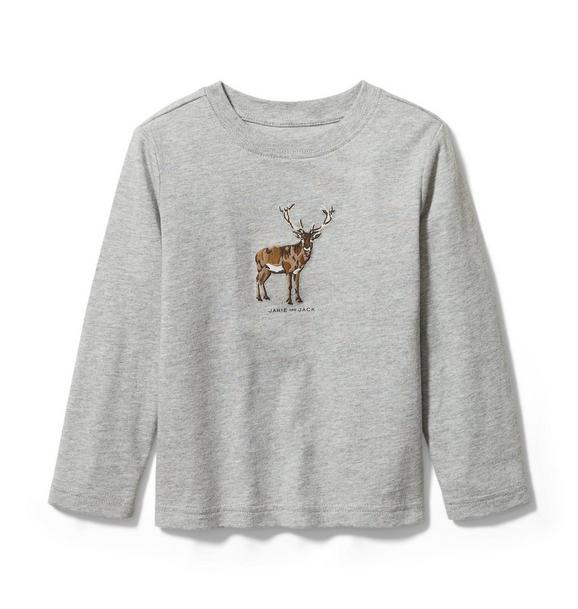 Embroidered Reindeer Tee