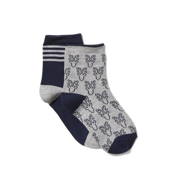 Stripe And Reindeer Sock 2-Pack