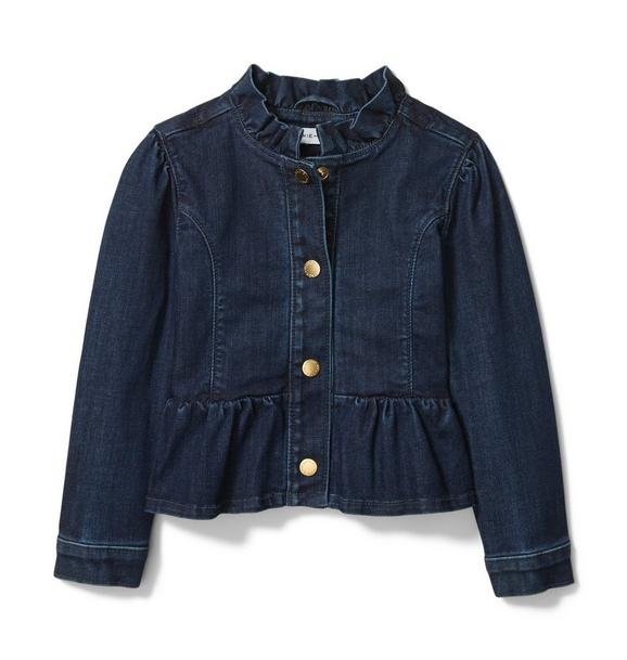 Ruffle Collar Denim Jacket