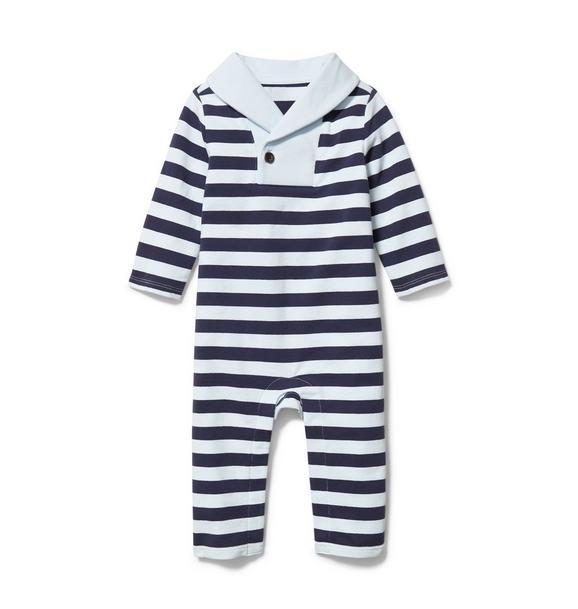 Baby Striped Shawl Collar 1-Piece