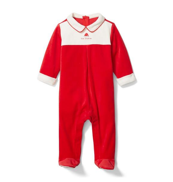 Baby Velour First Christmas Footed 1-Piece