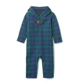 Baby Plaid Shawl Collar 1-Piece
