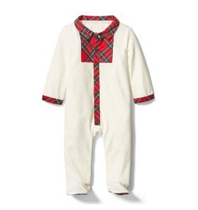 Baby Plaid Velour Footed 1-Piece