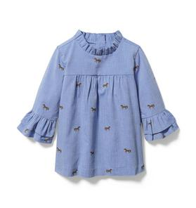 Horse Oxford Ruffle Top