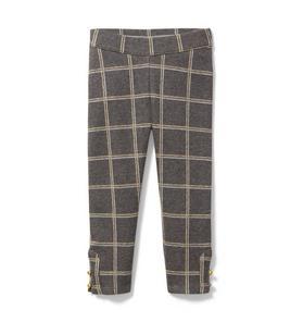 Windowpane Ponte Button Cuff Pant