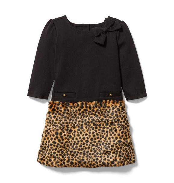 Leopard Faux Fur Ponte Dress